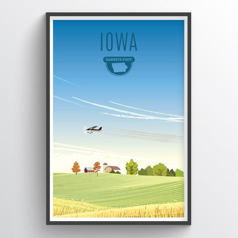 Affordable wholesale art prints of Iowa - Illustrated State Art