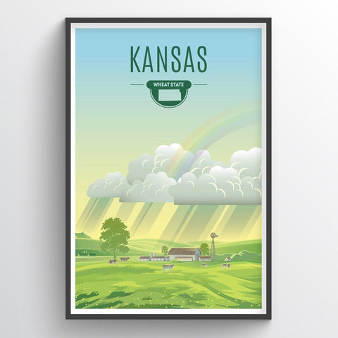 Affordable wholesale art prints of Kansas - Illustrated State Art