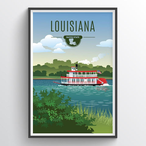 Affordable wholesale art prints of Louisiana - Illustrated State Art