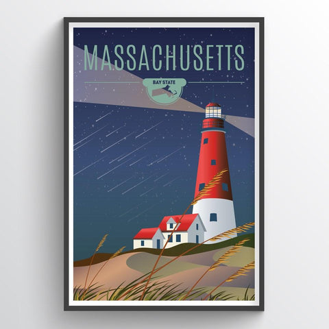 Affordable wholesale art prints of Massachusetts - Illustrated State Art