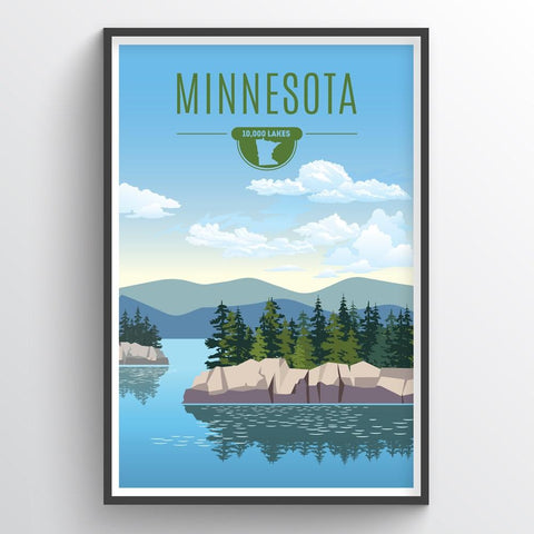 Affordable wholesale art prints of Minnesota - Illustrated State Art