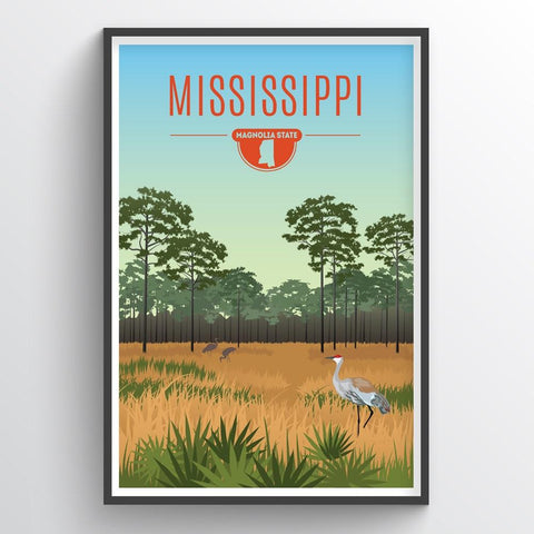 Affordable wholesale art prints of Mississippi - Illustrated State Art