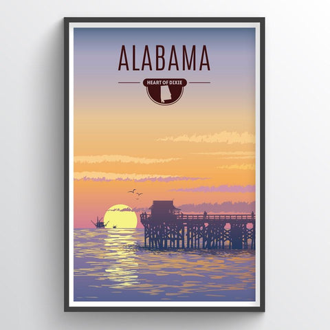 Affordable wholesale art prints of Alabama - Illustrated State Art