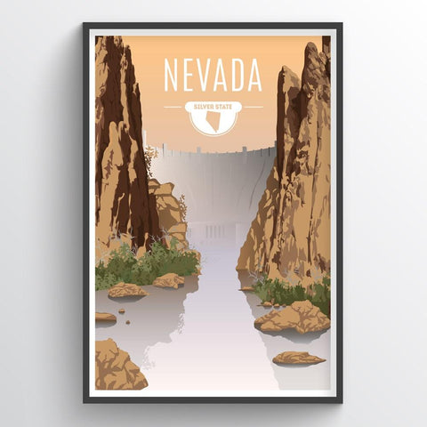 Affordable wholesale art prints of Nevada - Illustrated State Art