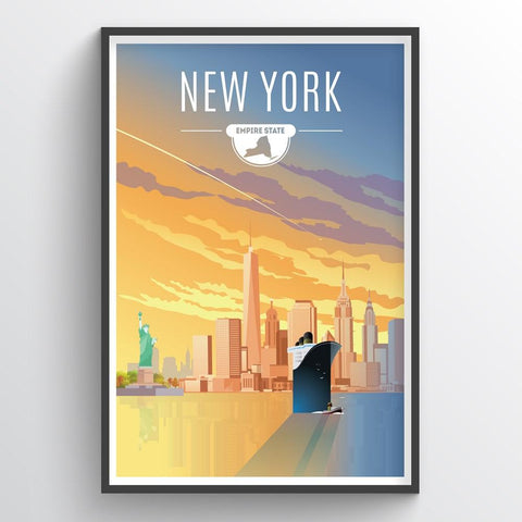Affordable wholesale art prints of New York - Illustrated State Art