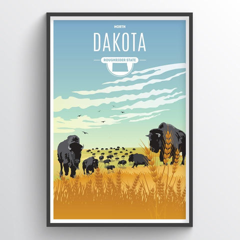 Affordable wholesale art prints of North Dakota - Illustrated State Art