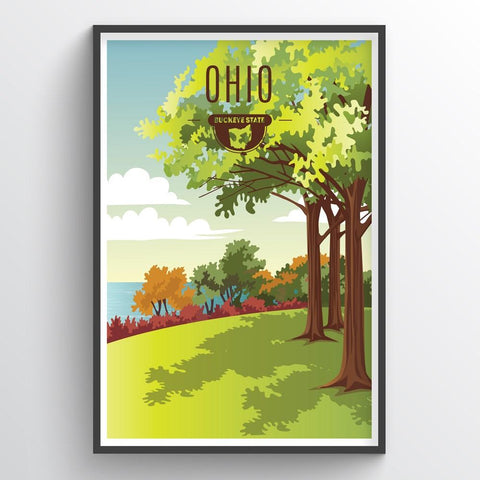 Affordable wholesale art prints of Ohio - Illustrated State Art