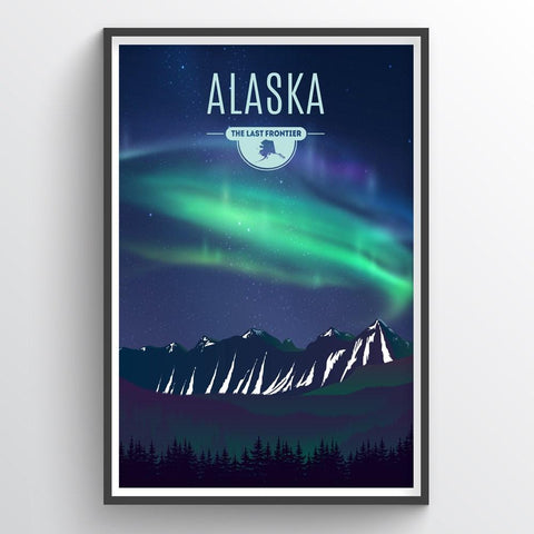 Affordable wholesale art prints of Alaska - Illustrated State Art