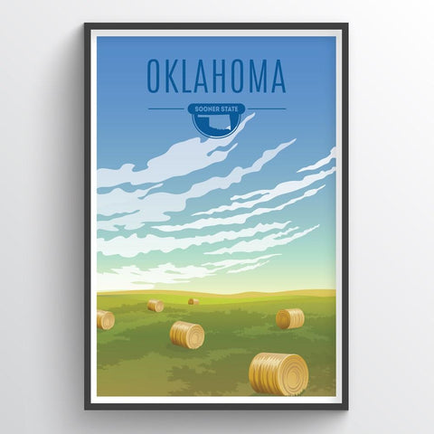 Affordable wholesale art prints of Oklahoma - Illustrated State Art