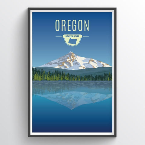 Affordable wholesale art prints of Oregon - Illustrated State Art