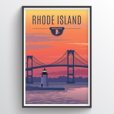 Affordable wholesale art prints of Rhode Island - Illustrated State Art