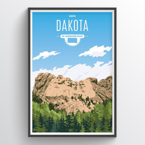 Affordable wholesale art prints of South Dakota - Illustrated State Art