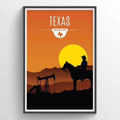 Affordable wholesale art prints of Texas - Illustrated State Art