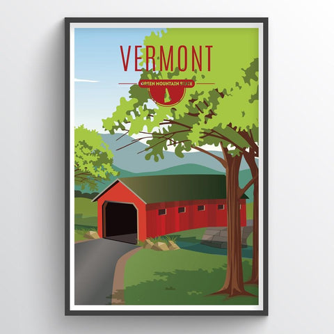 Affordable wholesale art prints of Vermont - Illustrated State Art