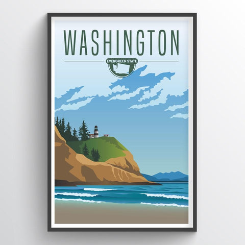 Affordable wholesale art prints of Washington - Illustrated State Art