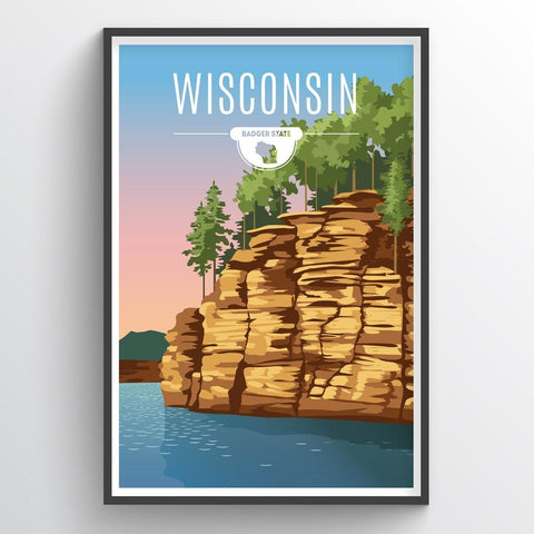 Affordable wholesale art prints of Wisconsin - Illustrated State Art