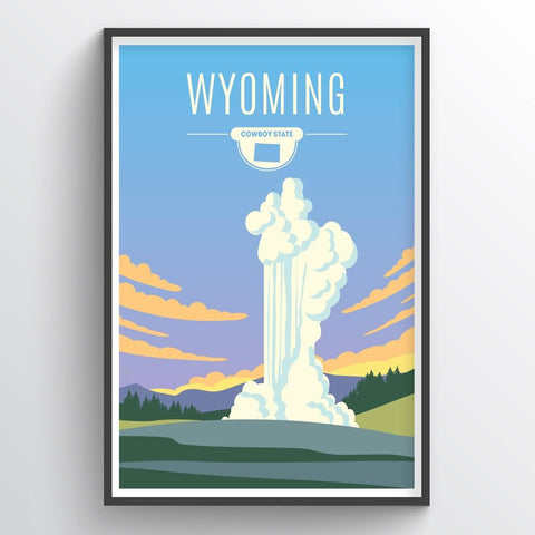 Affordable wholesale art prints of Wyoming - Illustrated State Art