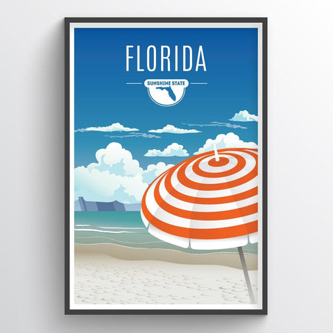 Affordable wholesale art prints of Florida - Illustrated State Art