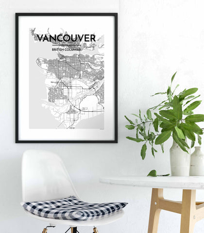 "Vancouver Screen Print- 18x24"" - Black & White"