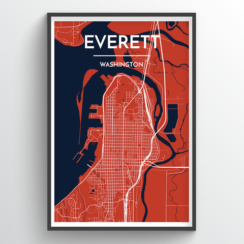 Affordable wholesale art prints of Everett - City Map Art Print
