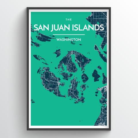 Affordable wholesale art prints of Islands of San Juan - City Map Art Print