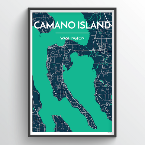 Affordable wholesale art prints of Camano Island - City Map Art Print