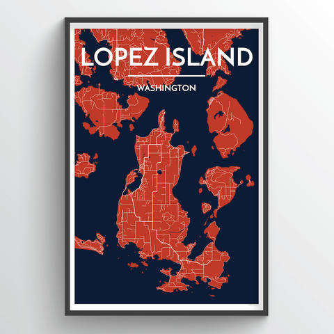 Affordable wholesale art prints of Lopez Island - City Map Art Print