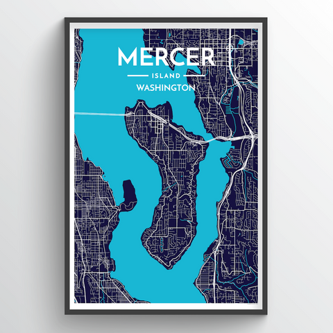 Affordable wholesale art prints of Mercer Island - City Map Art Print