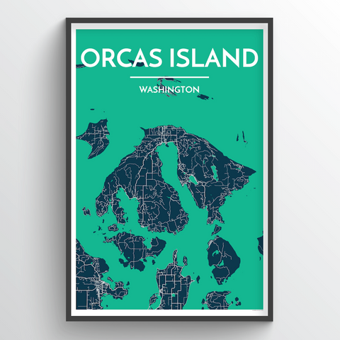Affordable wholesale art prints of Orcas Island - City Map Art Print