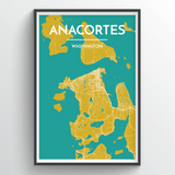 Anacortes Island Map Print