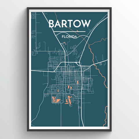 Affordable wholesale art prints of Bartow - City Map Art Print