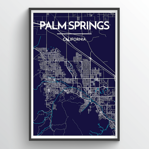 Affordable wholesale art prints of Palm Springs - City Map Art Print