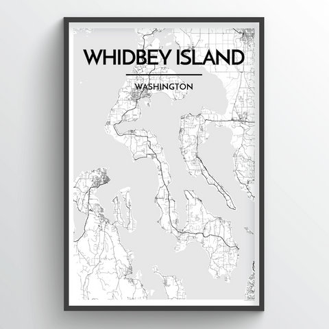 Affordable wholesale art prints of Whidbey Island - City Map Art Print