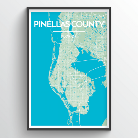 Affordable wholesale art prints of Pinellas County - City Map Art Print
