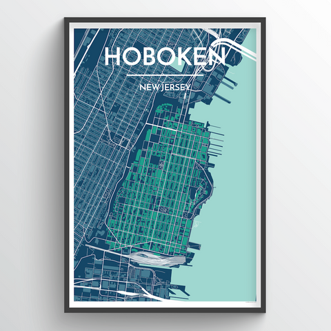 Affordable wholesale art prints of Hoboken New Jersey - City Map Art Print