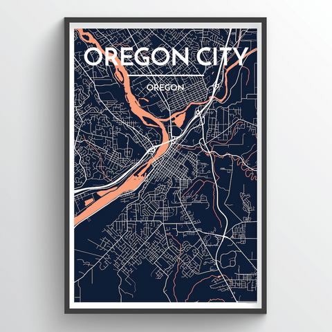 Affordable wholesale art prints of Oregon - City Map Art Print