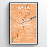 Affordable wholesale art prints of Dayton - City Map Art Print