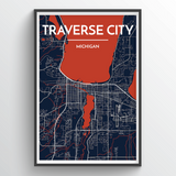 Affordable wholesale art prints of Traverse - City Map Art Print
