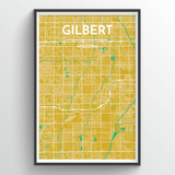 Affordable wholesale art prints of Gilbert - City Map Art Print