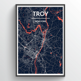 Affordable wholesale art prints of Troy - City Map Art Print