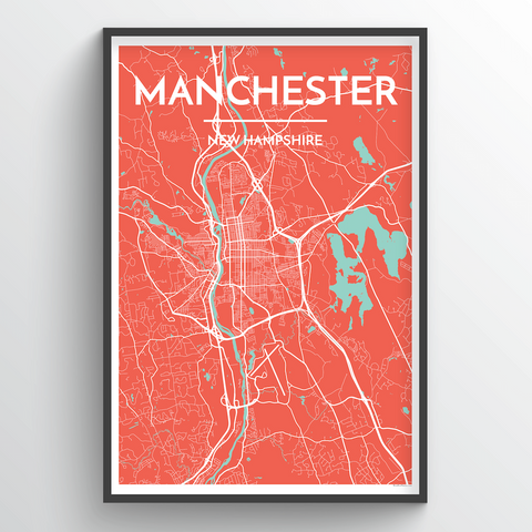 Affordable wholesale art prints of Manchester, NH - City Map Art Print