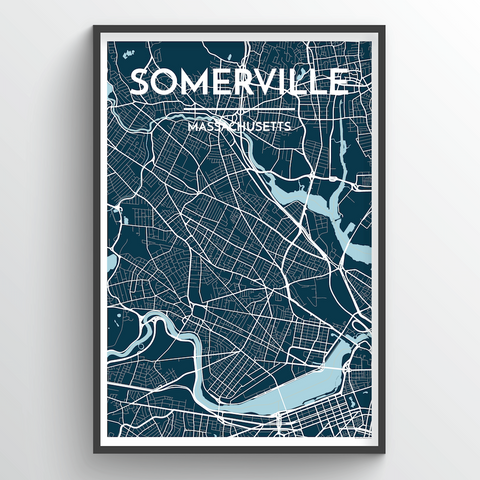 Affordable wholesale art prints of Somerville, MA - City Map Art Print