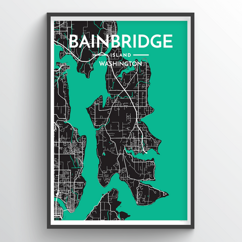 Affordable wholesale art prints of Bainbridge Island - City Map Art Print