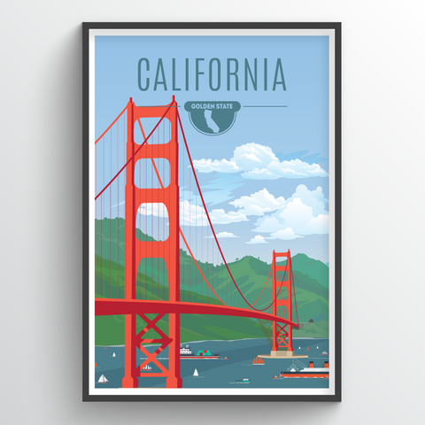 Affordable wholesale art prints of California - Illustrated State Art