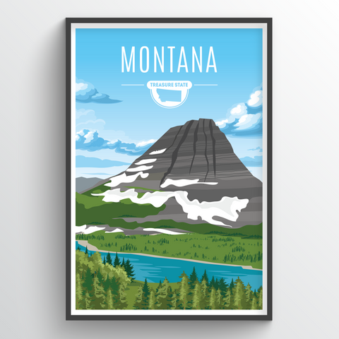 Affordable wholesale art prints of Montana - Illustrated State Art
