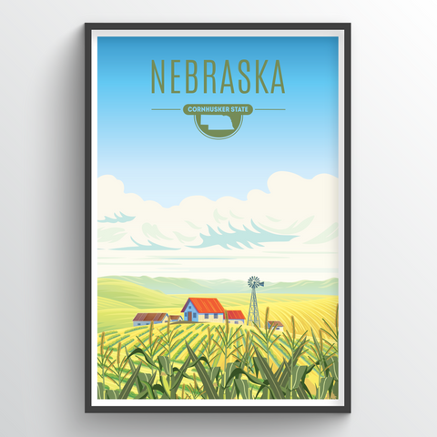 Affordable wholesale art prints of Nebraska - Illustrated State Art