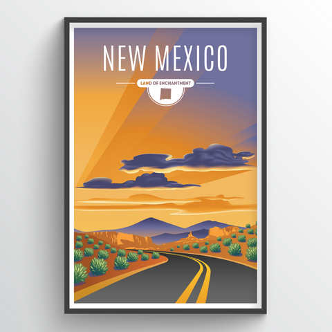 Affordable wholesale art prints of New Mexico - Illustrated State Art