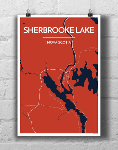 Affordable wholesale art prints of Sherbrooke - City Map Art Print