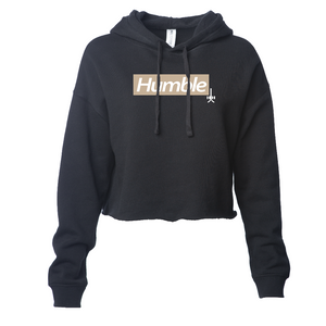 Black color camel tan brown design white text letters hooded crop hoodie cotton polyester blend