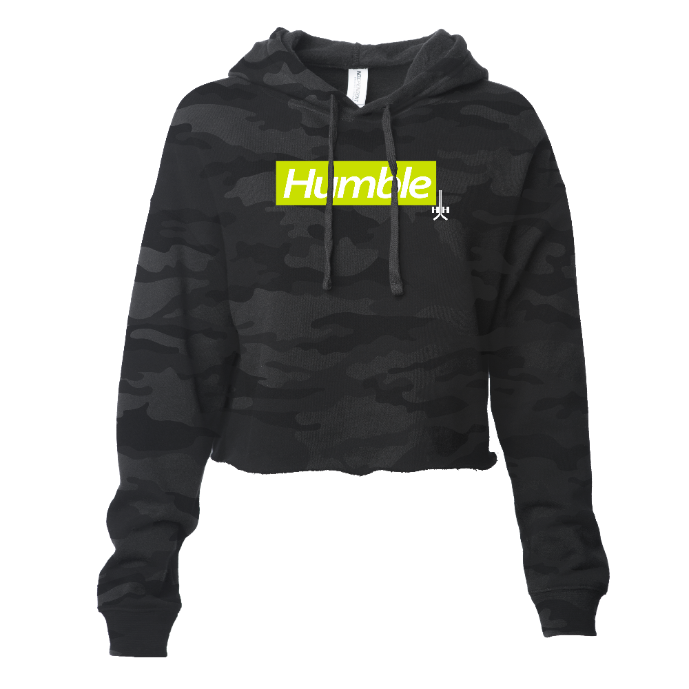Black camouflage neon yellow design white text letters hooded crop hoodie cotton polyester blend